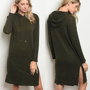 *Mara* Olive Rib Knit Hooded Jersey Shirt Dress